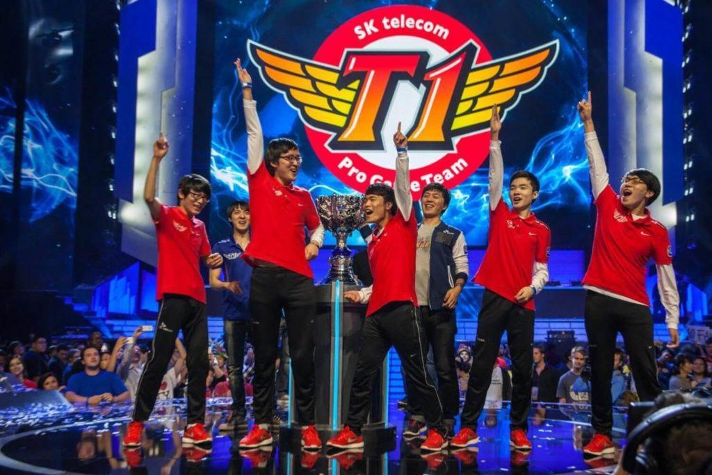 Team SK-T1 Celebrating after winning $338,000 each