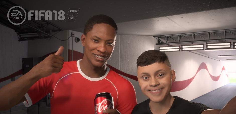 Coke is branded along the single player story campaign in the latest Fifa game