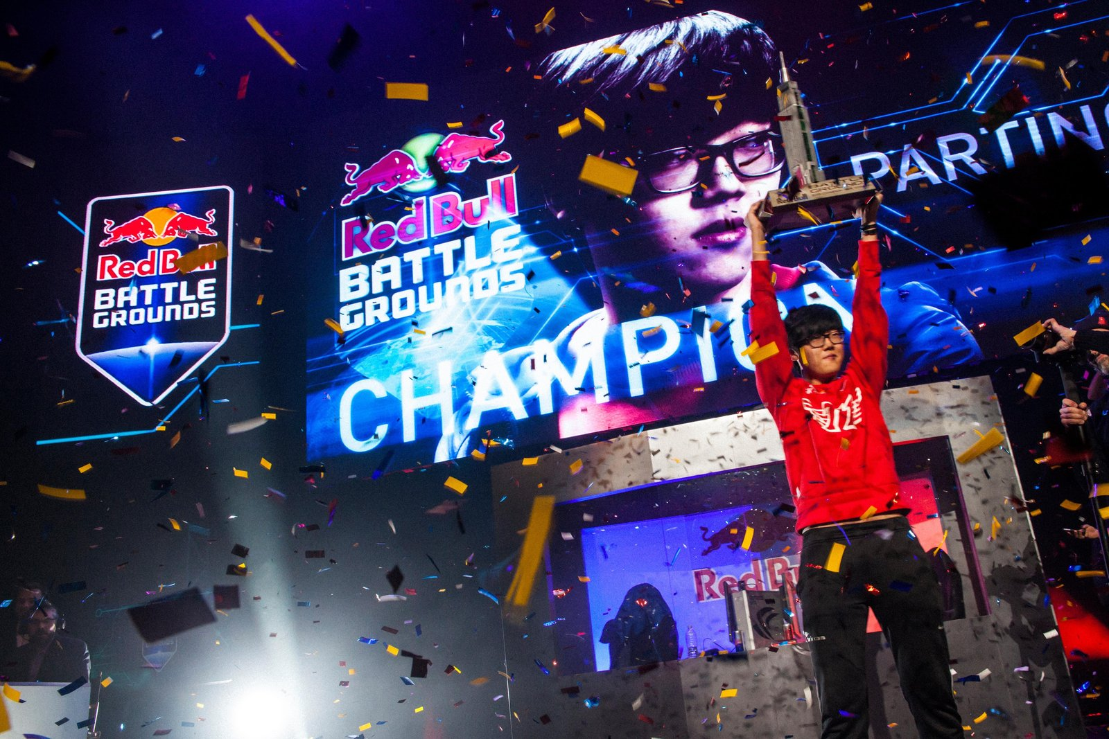 PartinG celebrates his victory over sOs in the final of Red Bull Battle Grounds, at the Hammerstein Ballroom in New York City, NY, USA on 24 November, 2013.
